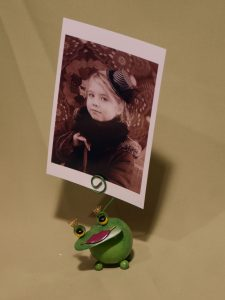 grenouille verte porte-photo